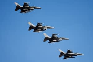 Colorado Air National Guard F-16s leading a pair of Shaw AFB F-16s