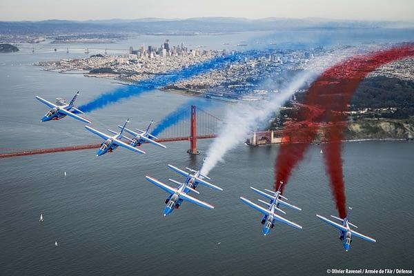 Patrouille de France Over San Francisco/Golden Gate Bridge