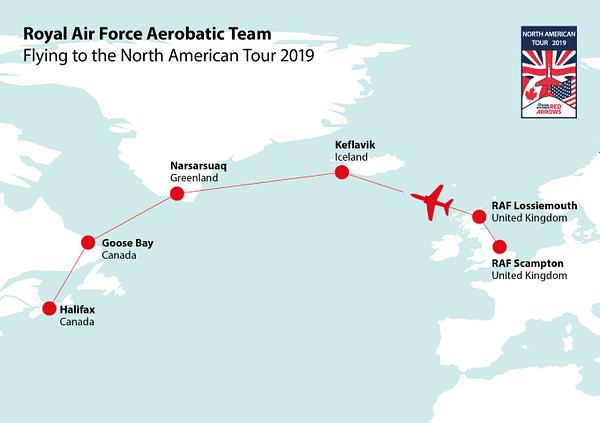 RAF Red Arrows North American Tour 2019 Transatlantic Trip Map