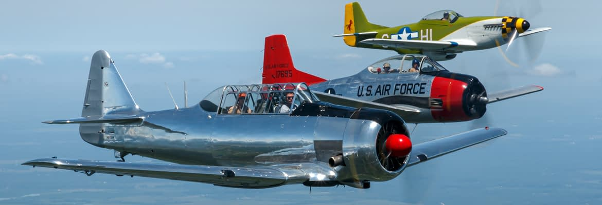 T-6 Texan, T-28 Trojan, P-51 Mustang in North American Air to Air Photo Flight - AirshowStuff
