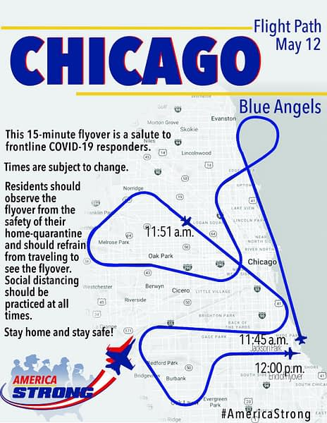 US Navy Blue Angels Chicago Flyover Route - Operation America Strong - AirshowStuff