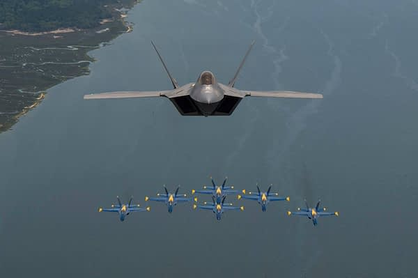 US Navy Blue Angels and US Air Force F-22 Raptor Photo Flight - AirshowStuff