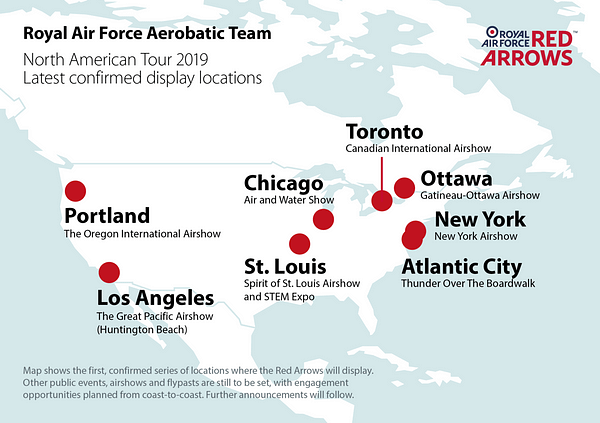 RAF Red Arrows 2019 North American Tour - AirshowStuff