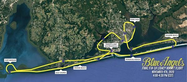 US Navy Blue Angels - Final Legacy Hornet Flight Flyover Map